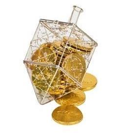 התמונה הראשית של סביבון מתכת עם מטבעות שוקולד