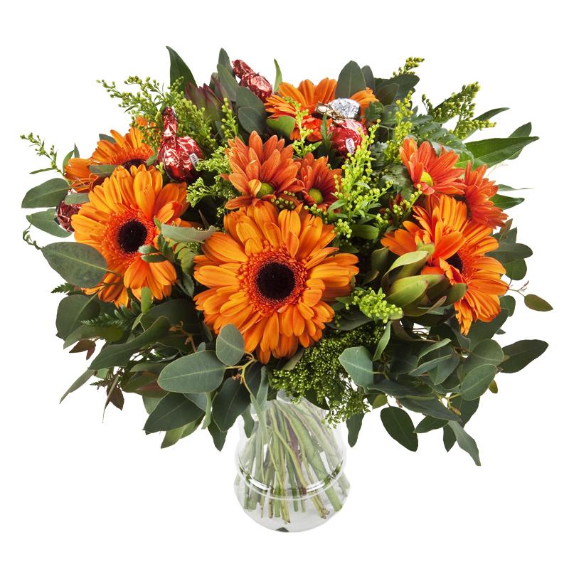 התמונה הראשית של זר פרחים כתום מתוק בכלי