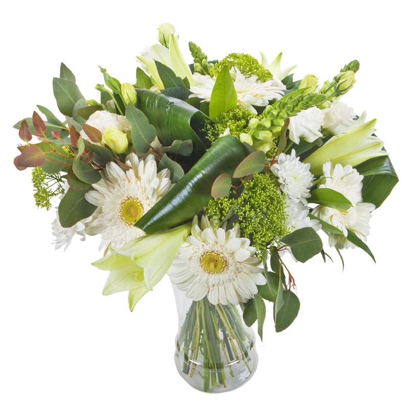 התמונה הראשית של זר פרחים - לבן על לבן - בכלי