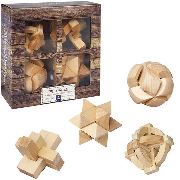 התמונה הראשית של 4 משחקי חשיבה במארז עץ