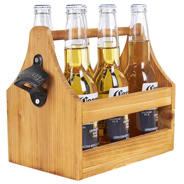 התמונה הראשית של מנשא עץ לבקבוקי בירה כולל פותחן