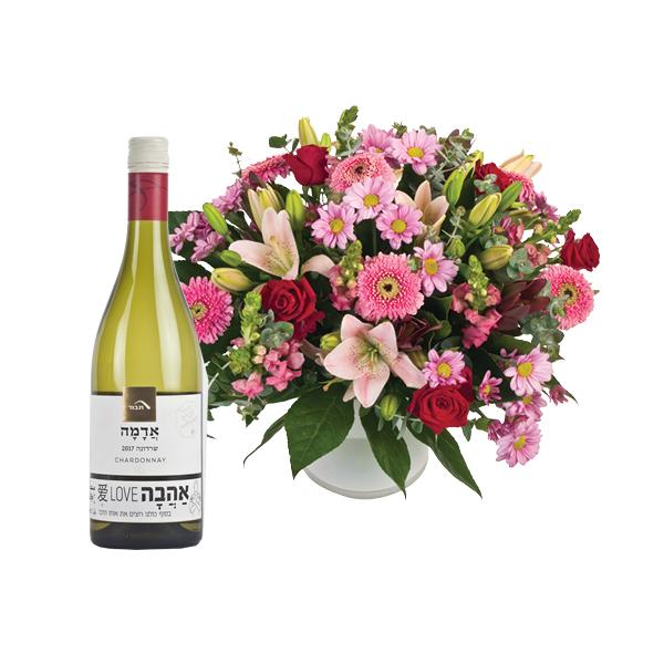 התמונה הראשית של זר פרחים רומנטיקה בשילוב שרדונה