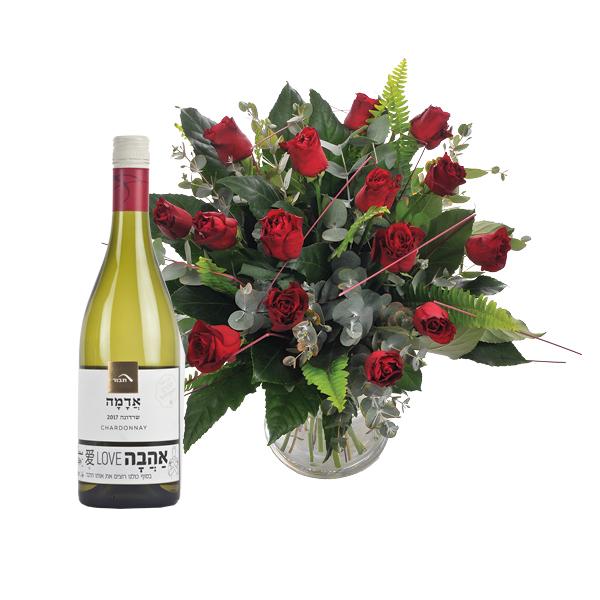 התמונה הראשית של זר פרחים אלף נשיקות עם בקבוק יין