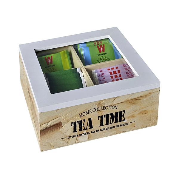 התמונה הראשית של קופסת עץ לתה 4 תאים